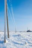 Ligne électrique en gelée Photographie stock libre de droits