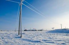 Ligne électrique en gelée Images stock