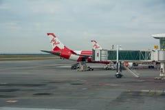 Ligne aérienne d'Air Asia d'avions Image stock