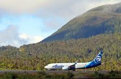 Ligne aérienne de l'Alaska avec la vue scénique photographie stock