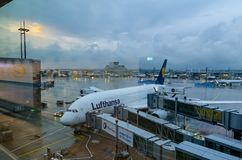 Ligne aérienne de Lufthansa à l'aéroport de Francfort photo libre de droits