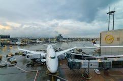 Ligne aérienne de Lufthansa à l'aéroport de Francfort photographie stock