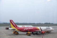 Ligne aérienne de VietJet Images libres de droits