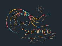 Ligne abstraite conception d'été colorée avec le vecteur de fille Photographie stock libre de droits