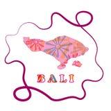 Ligne abstraite fond avec la carte du vecteur de Bali Indonésie dans l'ENV 10 photos stock