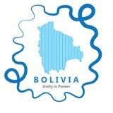 Ligne abstraite fond avec la carte du vecteur de pays de la Bolivie dans l'ENV 10 images libres de droits