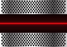 Ligne abstraite technologie de lumière rouge dans le vecteur futuriste moderne de fond de conception de maille de cercle en métal Photos stock