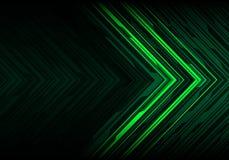 Ligne abstraite vecteur moderne de noir de feu vert de fond de technologie de conception futuriste de direction de polygone de fl illustration libre de droits