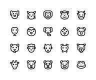 Ligne animale icônes de visage illustration stock