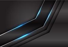 Ligne argentée métallique noire de résumé flèche légère bleue sur le vecteur futuriste de luxe moderne de fond de conception fonc illustration libre de droits