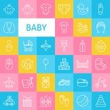 Ligne Art Baby de vecteur et icônes nouveau-nées de jouets réglées Photo stock