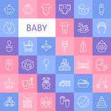 Ligne Art Baby Icons Set de vecteur Images libres de droits