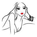 Ligne Art Beautiful Woman Pondering d'encre de vecteur illustration stock