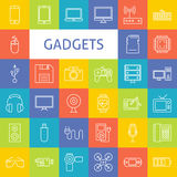 Ligne Art Electronic Gadgets Icons Set de vecteur Photo libre de droits