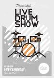 Ligne Art Event Music Poster de Live Drum Show Minimalistic Cool Image stock
