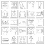 Ligne Art Icon Set d'appareil ménager Images stock