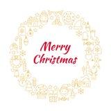 Ligne Art Icons Circle d'or de Joyeux Noël Photos libres de droits