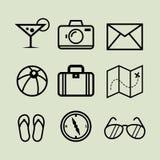 Ligne Art Icons de vacances Photos libres de droits