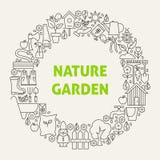 Ligne Art Icons Set Circle de jardin de nature Photographie stock