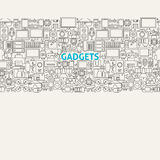Ligne Art Seamless Web Banner d'instruments de technologie Illustration Stock