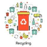 Ligne Art Thin Icons de recyclage des déchets de déchets Photographie stock libre de droits