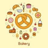 Ligne Art Thin Icons Set de boulangerie et de desserts avec le croissant et les biscuits Image libre de droits