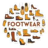 Ligne Art Thin Icons Set de chaussures avec des bottes et des chaussures Images stock