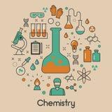 Ligne Art Thin Icons Set de chimie avec de l'ADN et les éléments chimiques Photos libres de droits