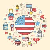 Ligne Art Thin Icons Set de l'élection présidentielle 2016 des Etats-Unis Photographie stock