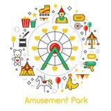 Ligne Art Thin Icons Set de parc d'attractions avec Ferris Wheel Photo stock