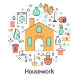 Ligne Art Thin Icons Set de travail de Chambre avec la machine à laver et le vide Image libre de droits