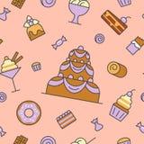 Ligne Art Thin Seamless Pattern Background de nourriture de desserts et de bonbons avec le gâteau et le petit gâteau Image libre de droits