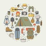 Ligne Art Vector Icons de camping Photographie stock libre de droits