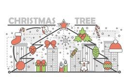 Ligne bannière de concept d'arbre de Noël de vacances Conception linéaire de style d'illustration de vecteur Icônes graphiques av Photographie stock libre de droits