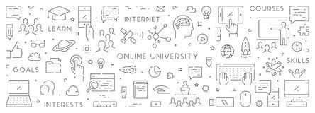 Ligne bannière de vecteur pour l'université en ligne Photos libres de droits