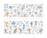 Ligne bannière de vecteur pour le sport et le triathlon Images stock