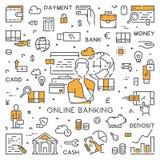 Ligne bannière de Web pour des opérations bancaires en ligne Photographie stock libre de droits