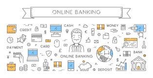 Ligne bannière de Web pour des opérations bancaires en ligne Photographie stock