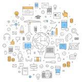 Ligne bannière de Web pour le marketing d'Internet Photographie stock