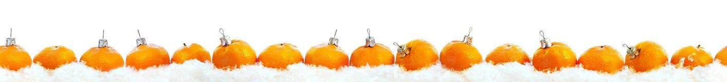 Ligne blanc d'isolement de rangée de mandarines de nouvelle année Photo libre de droits