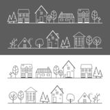 Ligne blanche de village d'icône et ligne noire illustration libre de droits