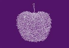 Ligne blanche pomme dans le style de zentangle D'isolement sur Violet Background Configuration de lame Schéma illustration libre de droits