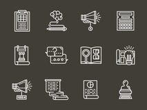 Ligne blanche simple icônes de service de comptabilité Photos stock