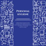 Ligne bleue bannière d'hygiène personnelle Ensemble d'éléments de douche, de savon, de salle de bains, de toilette, de brosse à d Image libre de droits