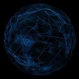 Ligne bleue de lueur abstraite de globe et triangle d'opacité Images libres de droits