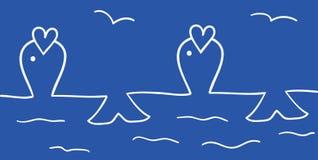 Ligne bleue de poissons Photographie stock