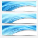 Ligne bleue ensemble de bruissement de lueur de titre de bas de page d'en-tête Image libre de droits