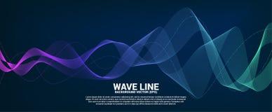 Ligne bleue et verte courbe d'onde sonore sur le fond foncé photo stock
