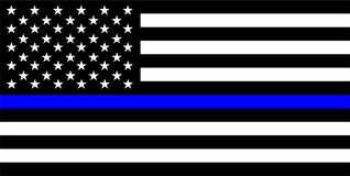 ligne bleue mince drapeau de police photos stock