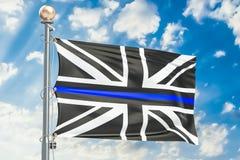 Ligne bleue mince Drapeau noir du Royaume-Uni avec le bleu Li de police Photo stock